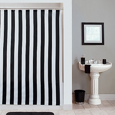 black and white striped shower curtain. Gramercy Stripe Shower Curtain via Bed Bath and Beyond Black  White Obsession ricci alexis
