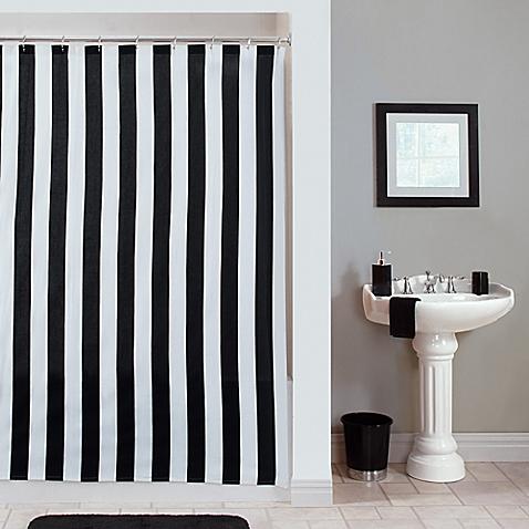 black white striped shower curtain. Gramercy Stripe Shower Curtain via Bed Bath and Beyond Black  White Obsession ricci alexis
