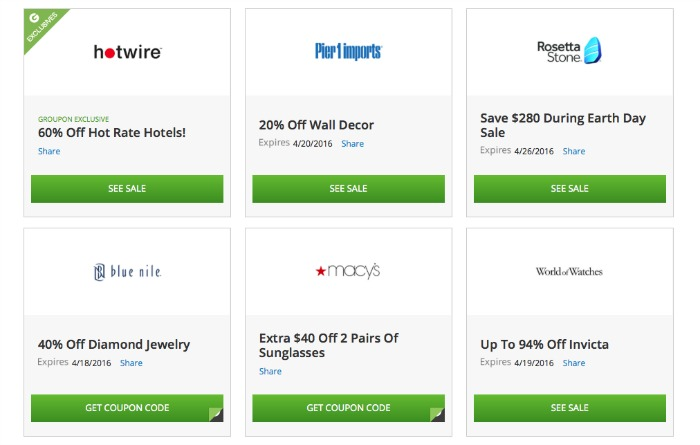 Examples of Groupon Coupons