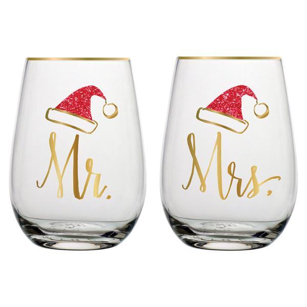 Mr/Mrs stemless wine glass set